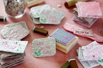 Homemade seed paper made into plantable Valentine cards