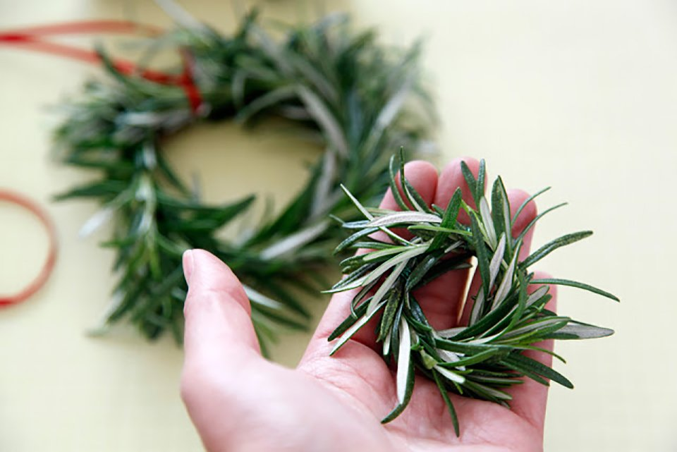 Homemade miniature rosemary wreath