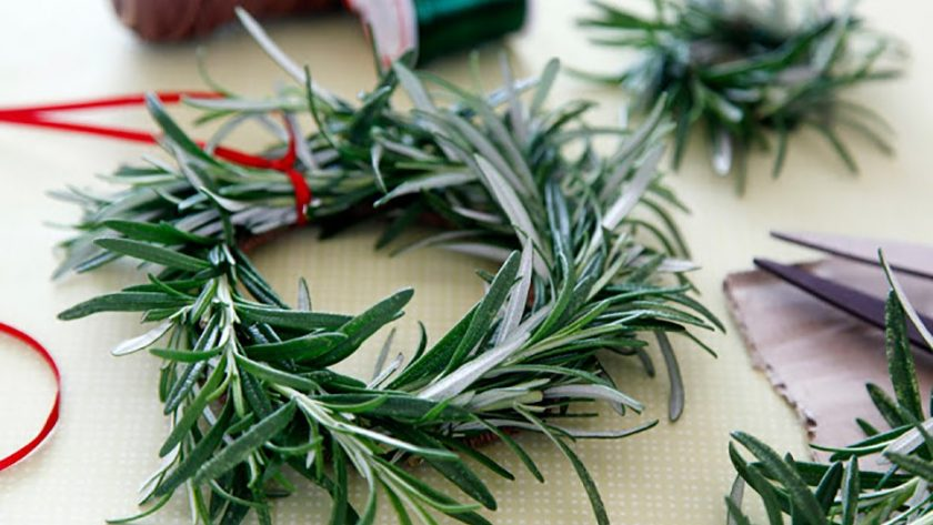 DIY rosemary wreath and craft supplies
