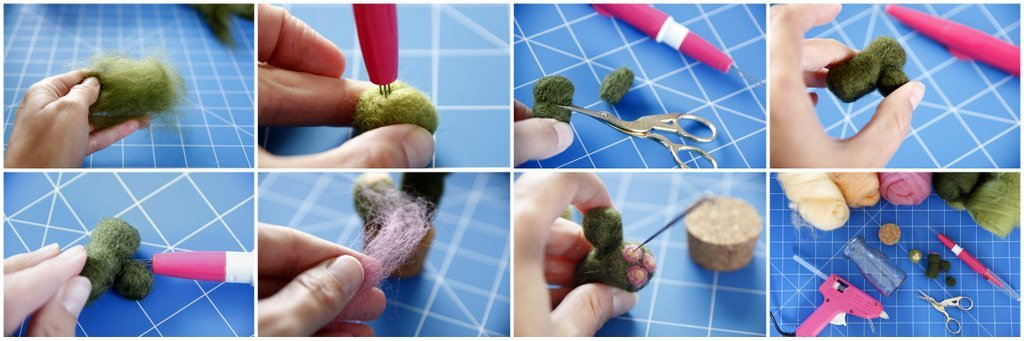 Making a needle felted cactus pin cushion