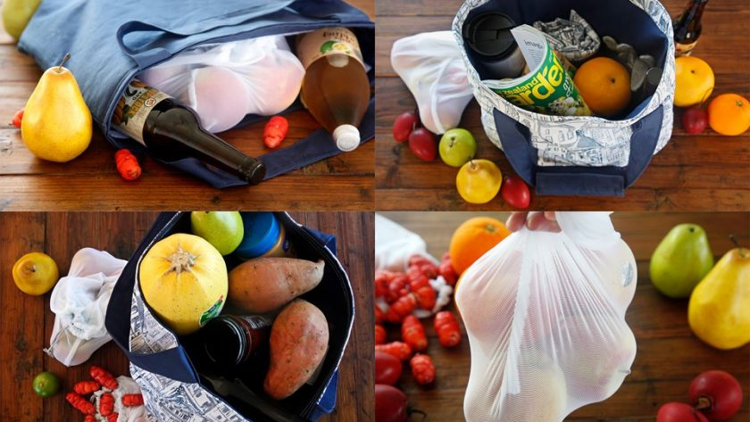 Four styles of DIY reusable fabric shopping bags