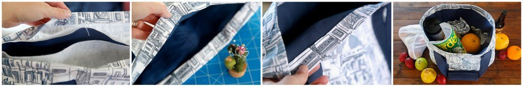 Sewing a reusable heavy-duty fabric shopping tote bag with pockets
