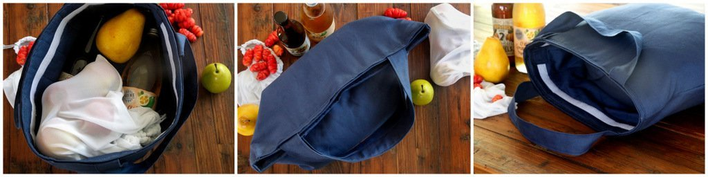DIY reusable insulated fabric shopping tote bag