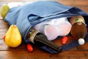 Homemade reusable insulated fabric shopping tote bag