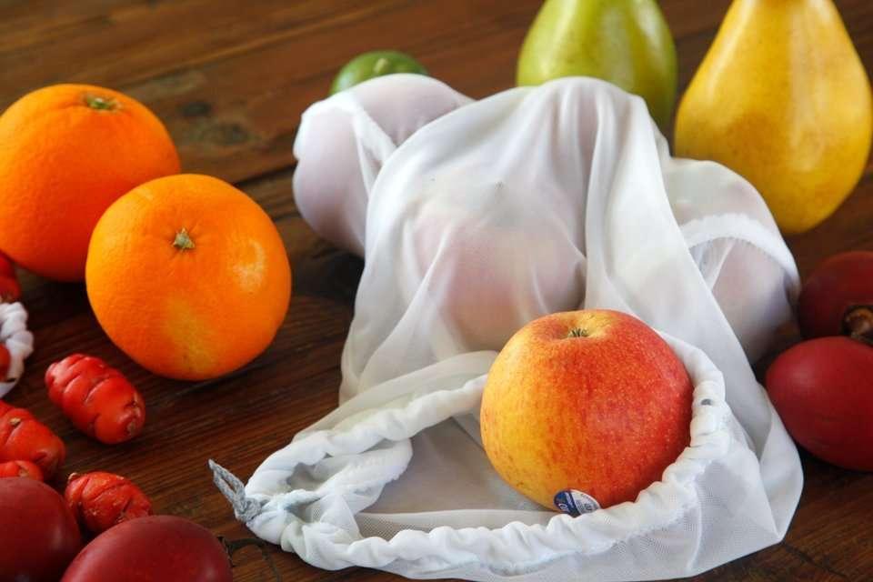 DIY drawstring reusable mesh produce bag
