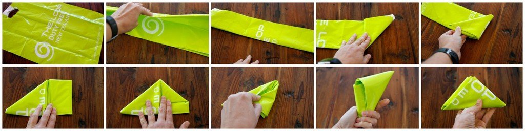 Folding heavy duty plastic bags for easy storage and use