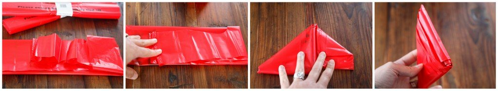 Folding plastic bags for easy storage and use