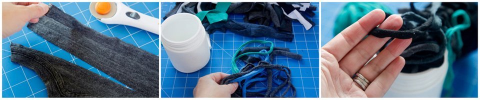 Making garden ties from scraps of old t-shirt material