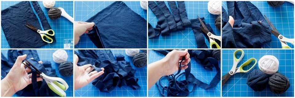 Making t-shirt-yard from old shirts