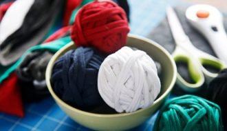 Balls of homemade t-shirt yarn