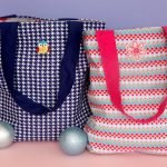 DIY fabric tote bags used as gift bags for children's presents