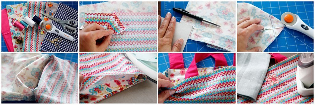 Sewing reusable fabric tote bags for kids
