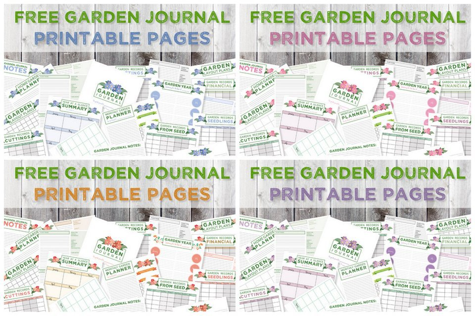 Free garden journal printable pages in four colour schemes