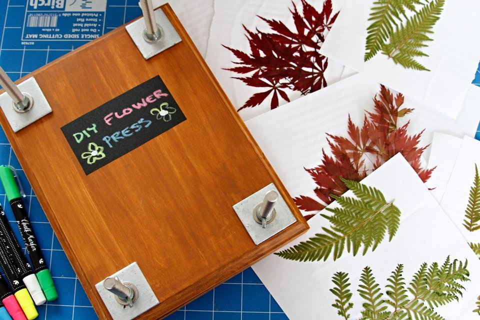 DIY wooden flower press