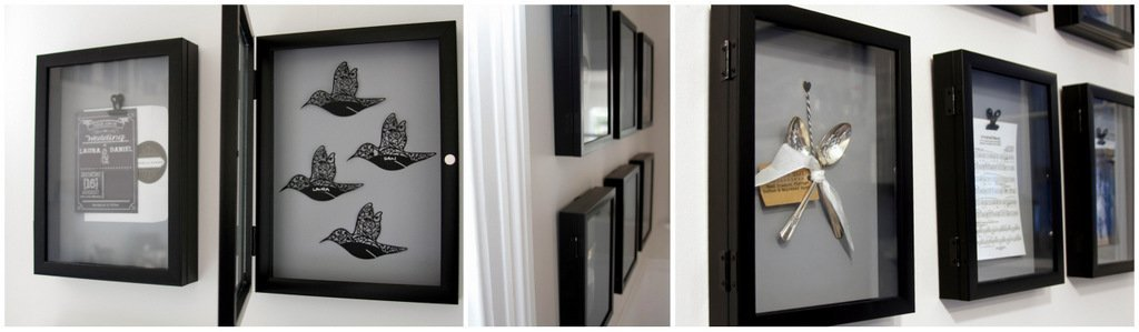 DIY wedding memorabilia shadow box gallery wall