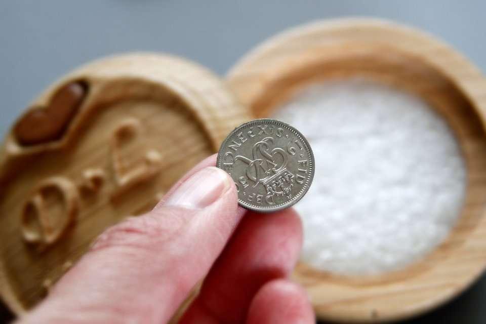 Lucky sixpence wedding memento
