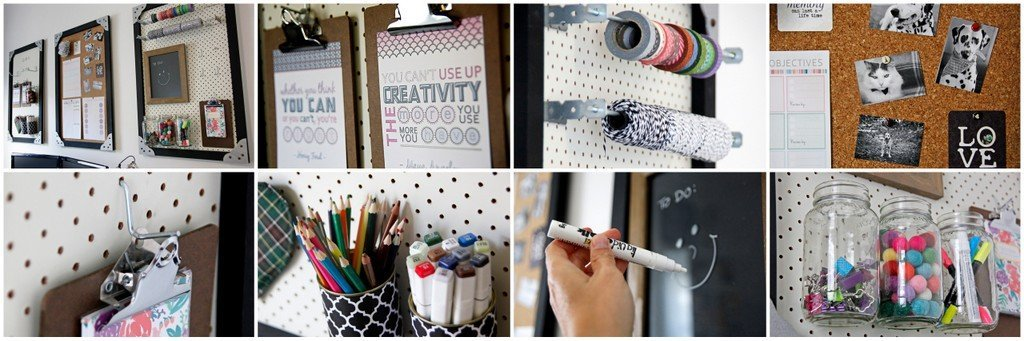 Add-on storage for DIY cork board and pegboard wall organisers