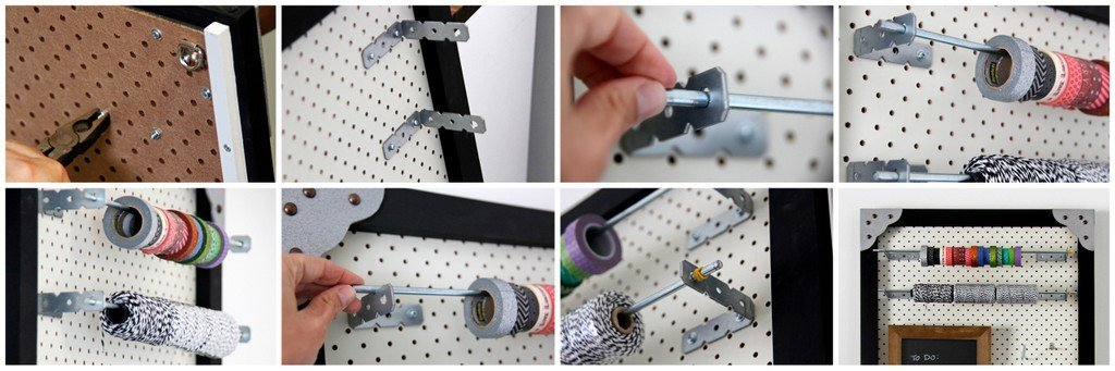 DIY spool and roll storage for pegboard wall organisers