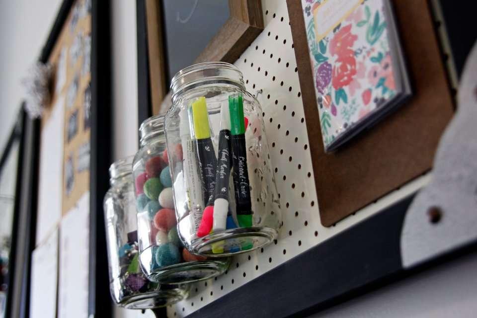 DIY pegboard office wall organisers
