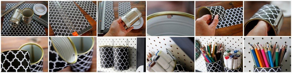 DIY recycled can pen and pencil holders