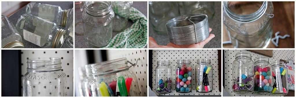 DIY Mason jar storage for pegboard wall organisers