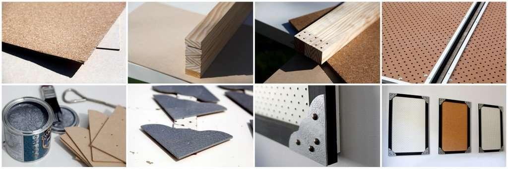 DIY cork board and pegboard wall organisers