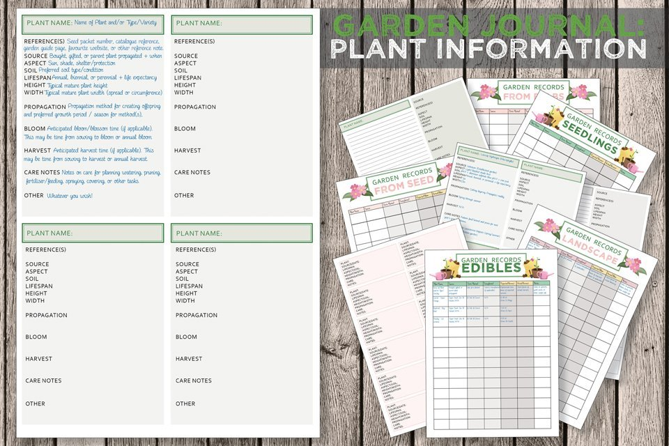 Free printable garden journal plant information templates
