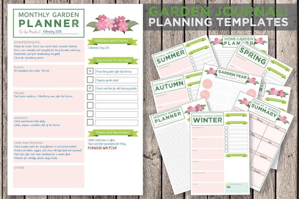 Free printable garden journal planning templates
