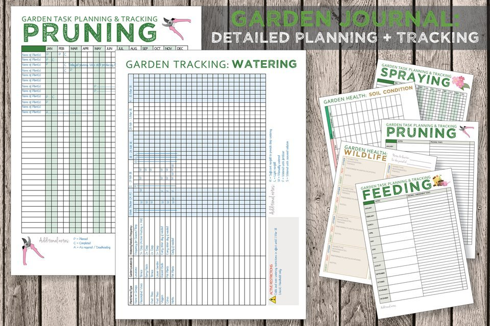 Free printable garden journal task planning and tracking templates