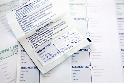 Labels templates for recording information on seed packets