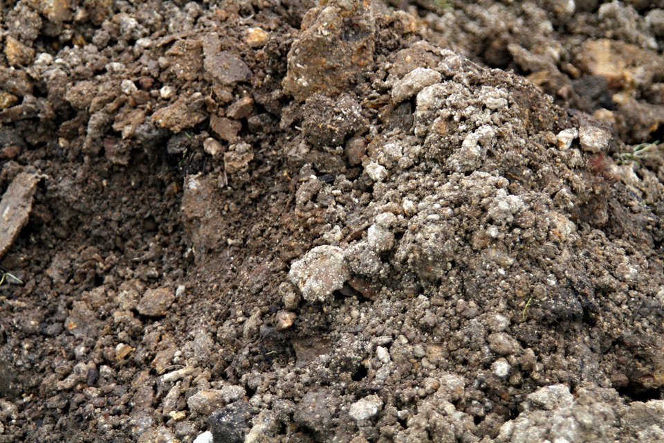 Clay soil mixed with compost and gypsum