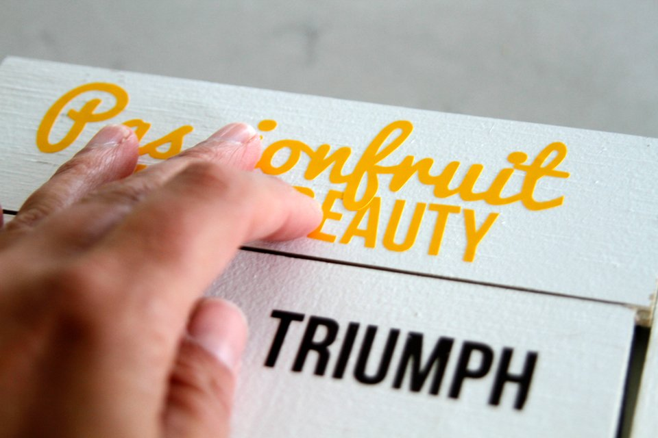 Applying Cricut name masks to garden labels for painting