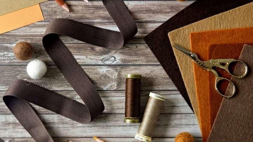 Autumn coloured craft supplies