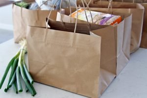 Groceries in paper shopping bags