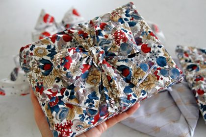 DIY reusable fabric gift wrap and ribbons