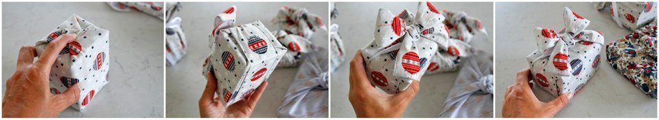 Wrapping a gift with reusable fabric wrap and ribbons