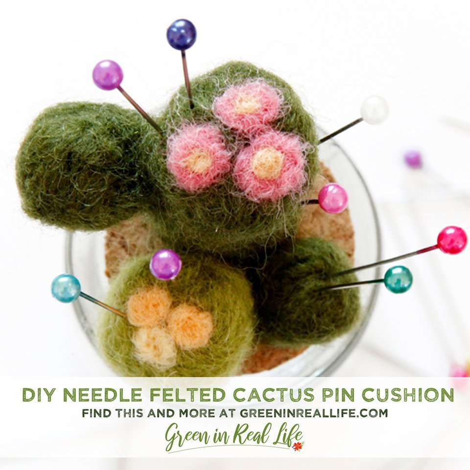 DIY Needle Felted Cactus Pin Cushion Jar