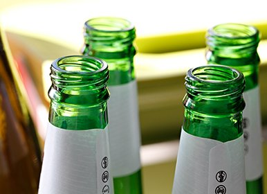 Reducing Waste - Bottles washed ready for recycling