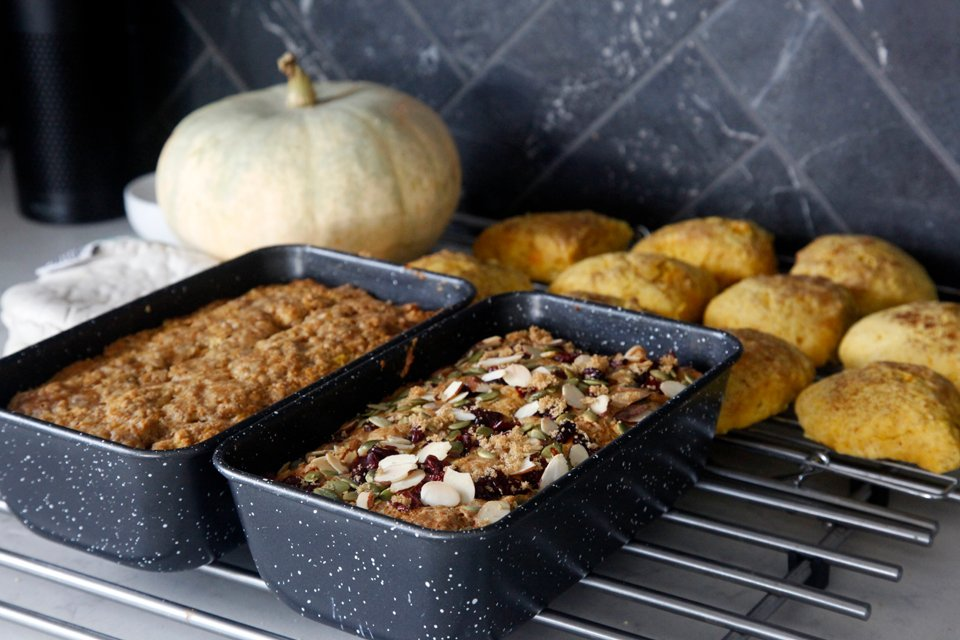 Baking loves and scones with home grown pumpkin